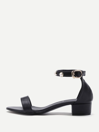 Faux Pearl Decorated PU Sandals