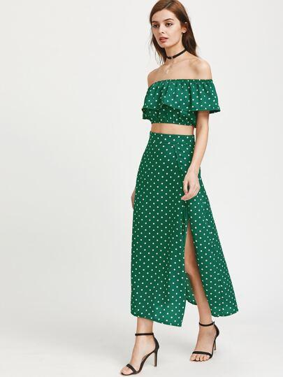 Flounce Layered Neckline Crop Top With Split Skirt