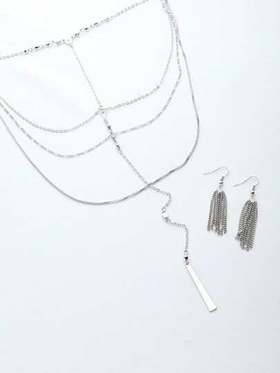 Collier Silver Multi Layer avec boucles d'oreille en cape