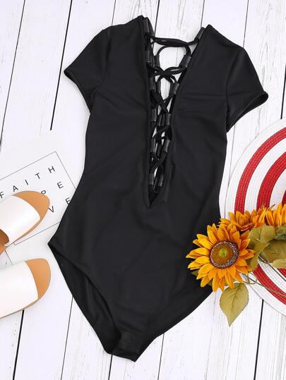 Black Double Lace Up Plunge Neck Bodysuit