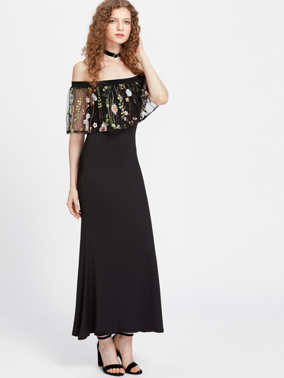 Embroidered Mesh Flounce Layered Neckline Dress