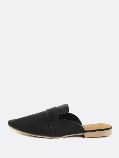 Vegan Leather Backless Flat Loafers BLACK