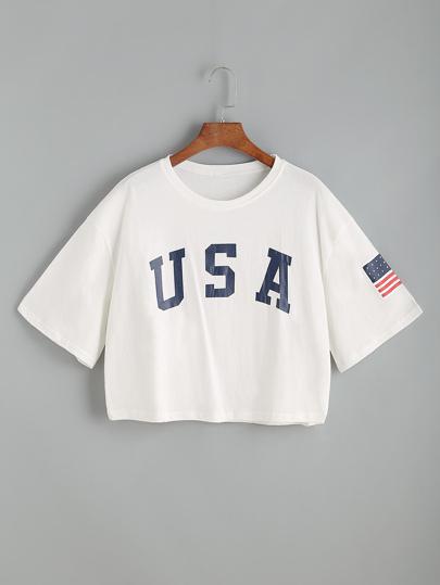 Camiseta corta con estampado de letra de hombros caídos - blanco