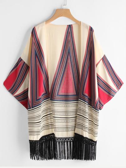 Kimono imprimé avec franges