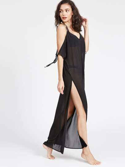 Self Tie Drape Cold Shoulder High Slit Cover Up Dress