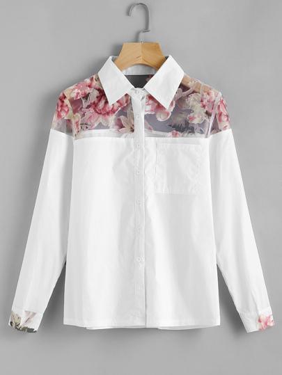 Blusa contraste de malla con estampado de rosa