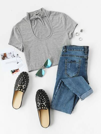 Keyhole Lace Up High Neck Crop Tee