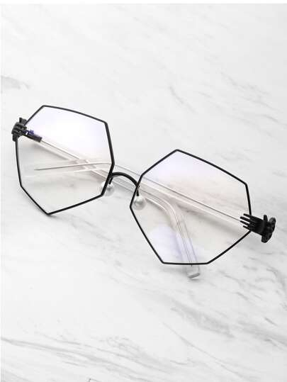 Palm Detail Polygon Glasses With Clear Lens