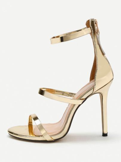 Sandales métallique à talons aiguilles avec le zip en PU