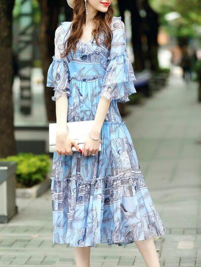 Blue V Neck Bell Sleeve Print Dress