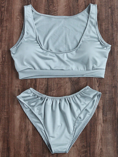 Scoop Neck Crop Tankini Set