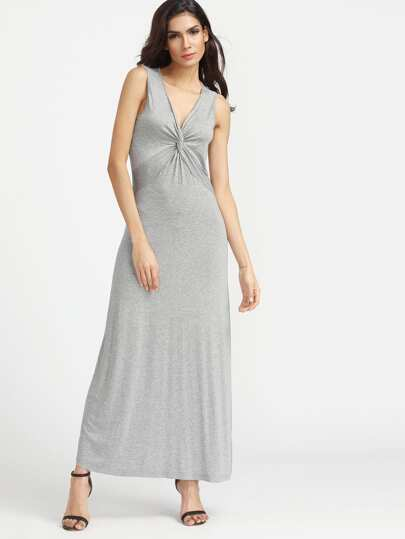 Heathered Twist Front Maxi Tank Dress
