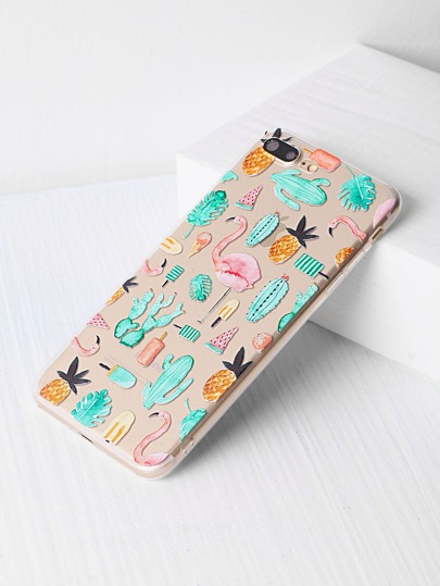 Flamingo und Pflanze Druck iPhone 7 Plus Kasten