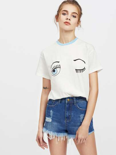 Contrast Neck Drop Shoulder Wink Eye Print Tee