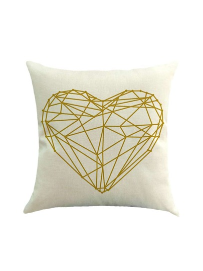 Heart Print Linen Pillowcase Cover