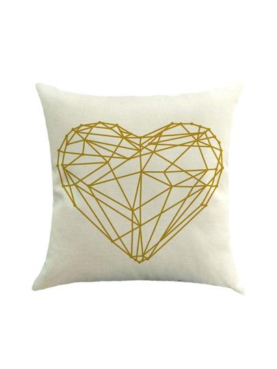Funda de almohada de lino con estampado de corazón