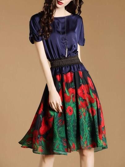 Navy Elastic-Waist Rose Print Dress