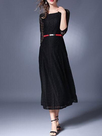 A-Linie Kleid mit transparenten Ärmeln und Gürtel