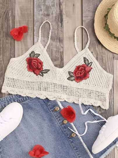 Patch Detail Scallop Hem Hollow Out Crochet Bralette