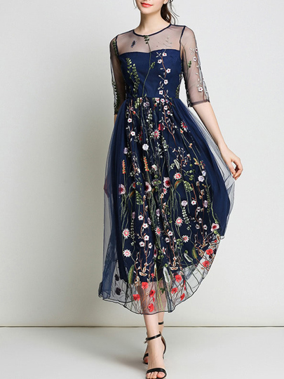 Sheer Gauze Flowers Embroidered Dress