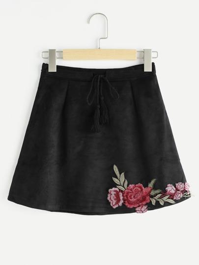 Falda de ante con fleco con cordón aplique bordada