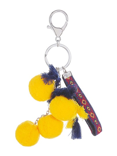Colorful Pom Pom Tassel Keychain