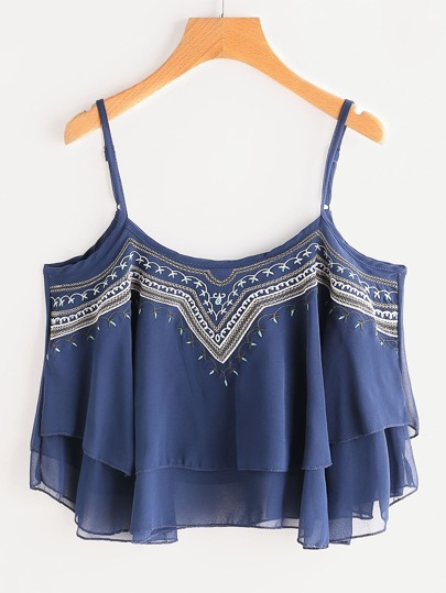 Embroidered Layered Chiffon Cami Top