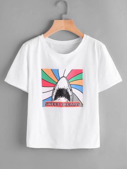 Camiseta estampada de tiburón
