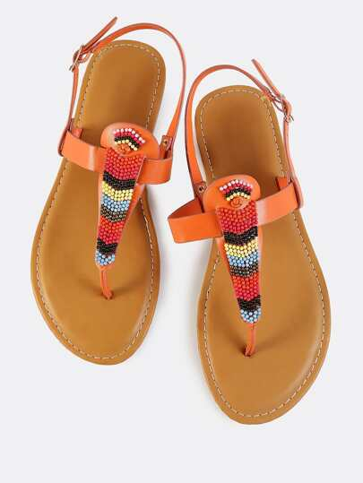 Multi Beaded Thong Sandals ORANGE