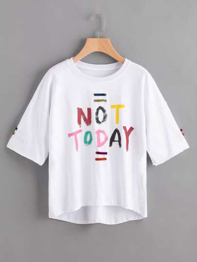 Slogan Print Tee With Eyelet Strap Detail