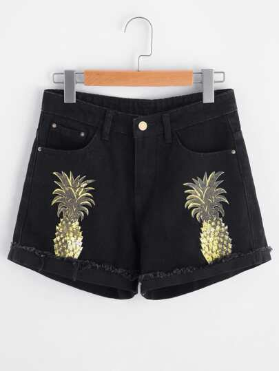 Pineapple Print Cuffed Raw Hem Denim Shorts