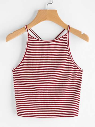 Pinstripe Criss Cross Back Cami Top