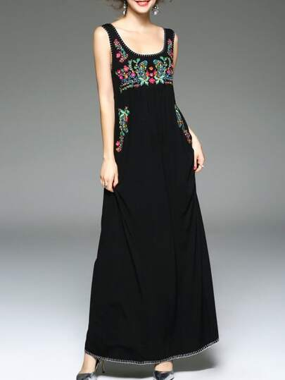 Black U Neck Flowers Embroidered Maxi Dress