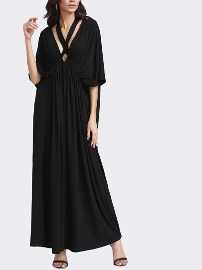 Vestido fruncido en la parte elantera con cuello en V con cinturón - negro