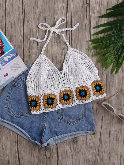 Geo Pattern Trim Crochet Halter Top