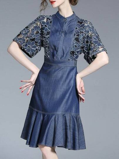 Contrast Lace Sleeve Denim Frill Dress