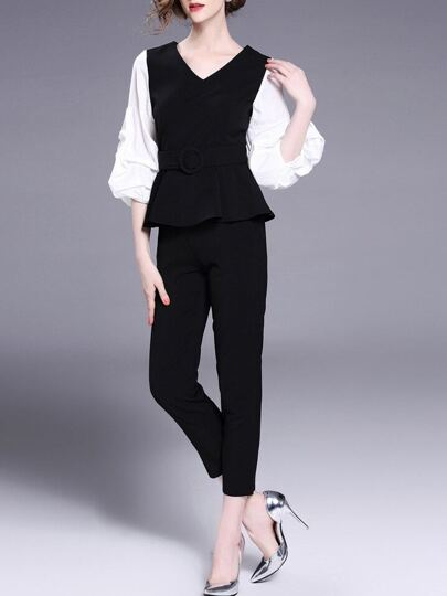 Puff Sleeve Peplum Top With Pants