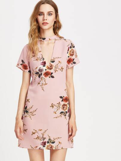 V-Cut Floral Chiffon Dress