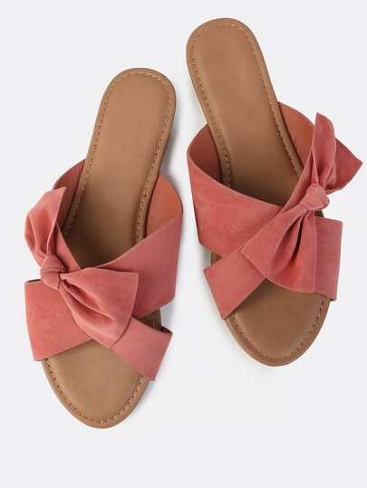 Cross Band Bow Slip On Sandals MAUVE