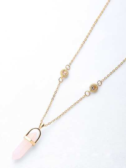 Hexagonal Column Stone Pendant Long Necklace