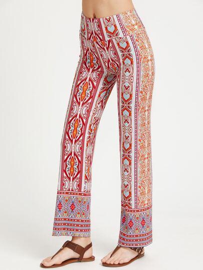Pantalones rectos con estampado azteca