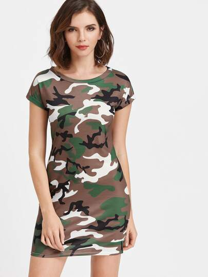 Camouflage Print T-shirt Dress