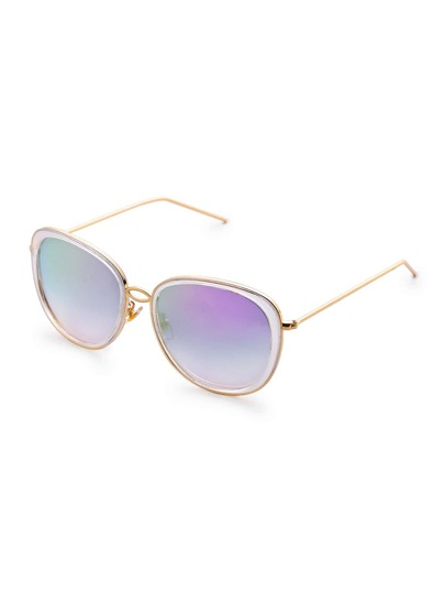 Hollow Out Metal Trim Cat Eye Sunglasses