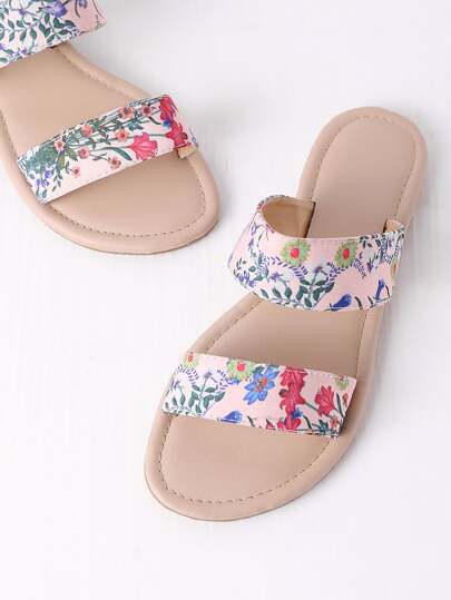 Calico Print Slip On Sandals