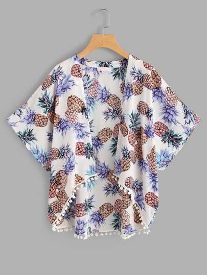 Pom Pom Trim Pineapple Print High Low Kimono