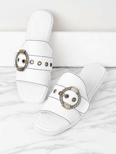 Eyelet Design Metal Buckle Sandals
