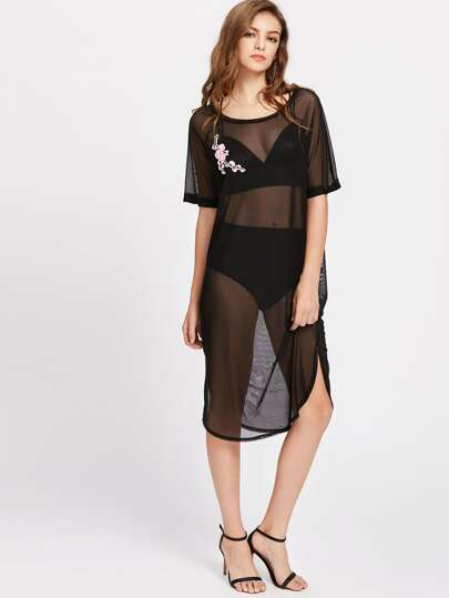Blossom Embroidery Applique Dolphin Hem Mesh Dress