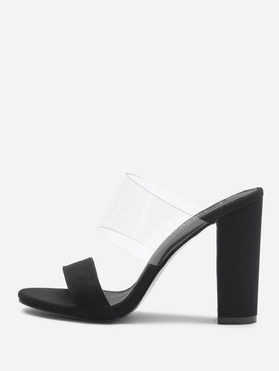 Sandalias de tacón alto con diseño transparente