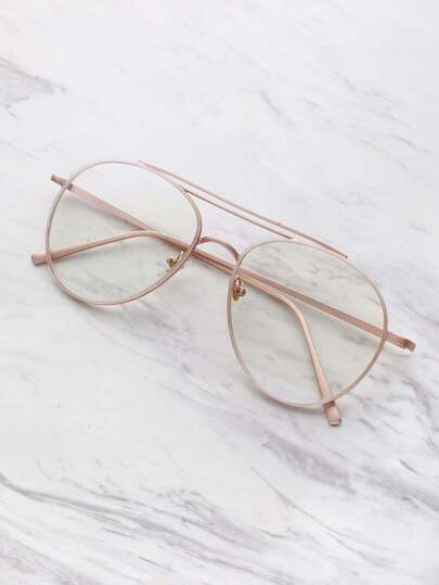 Clear Lens Aviator Brille