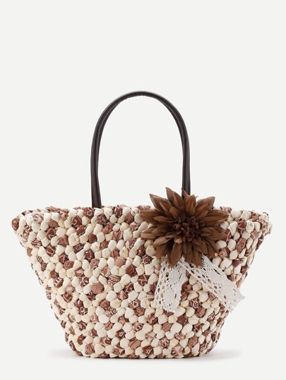 Straw Tote Bag With Flower